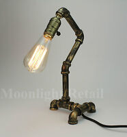 Vintage Industrial Retro Style Steel Pipe Desk Table Lamp Light Edison Steampunk