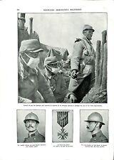 WWI Gaz Equipement Poilus Lunettes Casque Adrian Croix de Guerre  B ILLUSTRATION