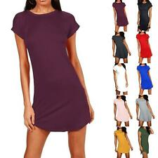 Ladies Womens Baggy Longline Curved Hem Turn Up Sleeve Tunic T-Shirt Mini Dress