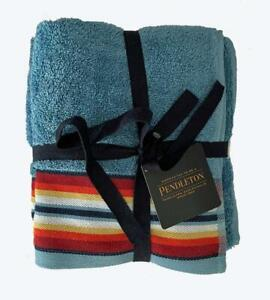 """2 Pendleton Blue Saltillo Striped Border Fluffy Terry Loop HAND Towels 16"""" x 28"""""""