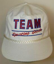 Vintage 1990s TEAM SPORTING GOODS AVERTISING White Adjustable HAT ROPE CAP