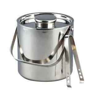 2L Ice Bucket + Tongs & Lid Insulated Double Walled Stainless Steel Cooler