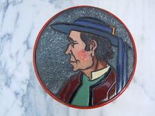 Boite bois pyrogravée peinte buste de breton signée Pradiac