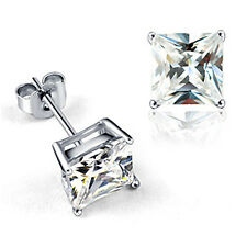 Stud earrings for women silver plated earings Crystal square CZ mens jewelry lot