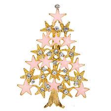 *UK* GOLD / PINK ENAMEL STAR CLEAR RHINESTONE CHRISTMAS TREE BROOCH PIN XMAS