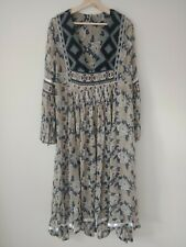 FREE PEOPLE Feeling Groovy Dress Flowy Blue Boho Size XS/S Embroiderer Floral