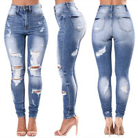Womens Stretch High Waisted Skinny Ripped Jeans Long Distressed Denim Pants