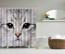 Cool Kitty Meow Cat Face Shower Curtain Tabby Cat Kids Bath Home Decor