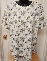Lauren Brooke Womens Blue Green Off White Floral Shirt Top Blouse Size 18W