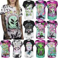 Alien Letter Graphic 3D Print Women Men Casual Tops Tie-Dye Punk Hip-hop T-Shirt