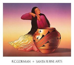 Dine Woman by R. C. Gorman Art Print Southwest Native Latin Pottery Poster 31x27