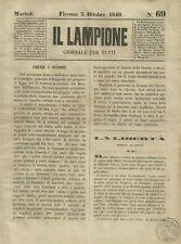 Il Lampione Giornale di Carlo Collodi Risorgimento n° 69 Legge sul Diritto 1848