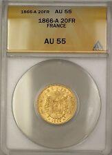1866-A France 20 FR Francs Gold Coin ANACS AU-55