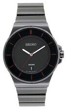 New Seiko Quartz Men's Watch with Black Metal Bracelet and Black Dial