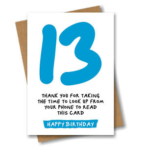 Funny 13th Birthday Card for Son Brother Grandson Boy Nephew Him - 13 Years Old