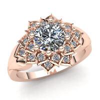 Genuine 0.5ctw Round Cut Diamond Ladies Bridal Halo Fancy Ring 10K Gold