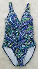 Ralph Lauren Ruched Blue Paisley Padded Tummy Control One Piece Swimsuit Size 10