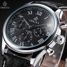 ORKINA Fashion Mens Black Leather Japan Chronograph Stopwatch Quartz Wrist Watch