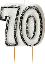 70Th Birthday Cake Candle Black & White Cake Decorations Doulbe Sided (Uq)