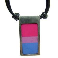 Gay Pride Pendant Bisexual Flag Adjustable Pewter Nickel Free