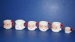 Vintage Lot of 6 Ceramic Christmas Santa Mugs Drinking Cups - Made in Japan