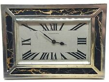20s Vintage Art Deco Tiffany & Co. France Desk Mantle Clock Watch Marble Chrome
