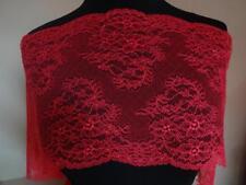 Französische elastische Spitze,Spitzenborte,Lace Flamingo rot 22cm breit