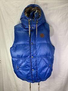 VTG Polo Ralph Lauren Down Puffer Hooded Vest Men's Medium Blue Leather Crest