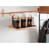 Rose Gold Rectangular Metal Hanging Storage Rack Kitchen Organiser Jar Holder