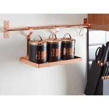 Or Rose Rectangulaire Metal Hanging étagère de Rangement Cuisine Organisateur Pot Holder