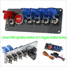 New 12V Car Offroad Panel Ignition Switch & 4 Blue & 1 Red LED Toggle Button Kit