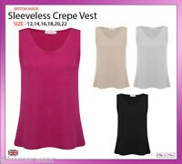 New Ladies Women Plain Sleeveless Crepe Vest Top Plus Sizes 12-20