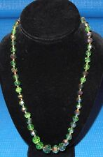 """Vintage Costume Jewelry Necklace 22"""" Long Glass Beads, Green, Faceted, Graduated"""