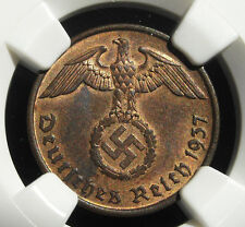 NGC MS-64 RB  NAZI SWASTIKA 1937-D  2 ReichPfennig COIN-Germany 3rd-REICH MINT!!