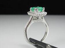 Emerald and Diamond Halo Ring 18K White Gold Fine Jewelry Square Princess $3700