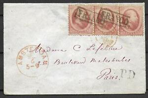 Netherlands covers 1866 NVPH 5 Pair+single cover Amsterdam to Paris
