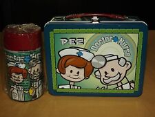 2002 PEZ CANDY METAL LUNCH BOX DOCTOR NURSE  WITH THERMOS NOS NEW OLD STOCK