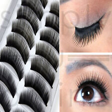 10 Pairs Handmade Natural Volumising Fake False Eyelashes Eye Lashes Jet Black
