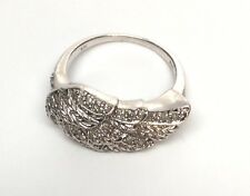 RST Sterling Silver CZ Diamonique Angel Wing Ring, Size 4 3/4