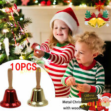More details for 10pc christmas hand bell xmas new year santa claus party celebrate rattle metal