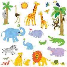 Decowall DW-1513 Jungle Animals Wall Stickers kids Decal Children Room happy DEC