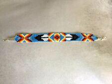 Blue Native American beaded bracelet Navajo design