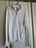 GUESS LOS ANGELES WOMENS WHITE FULL ZIP BLOUSE TOP SIZE 8 LONG SLEEVE LENGTH 27