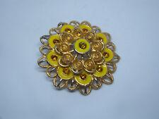 Beautiful Brooch Pin Flower Gold Tone Yellow Enamel Gold Rhinestones 2