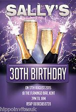 100 x 21st 18th 30th 40th Champagne Splash Glitz Birthday Party Invites + envs