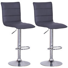 Bar Stools Set of 2 Faux Leather Kitchen Breakfast Stool Chair Chrome U008 Grey