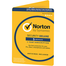 Norton Security Deluxe 3.0 1 User 5 Devices 12 Months License PC Mac IOS Android