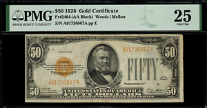 1928 $50 Gold Certificate FR-2404 - PMG 25 Comment - Very Fine