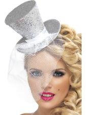 Mini Chapeau Paillette avec Voile Femmes Cirque Burlesque