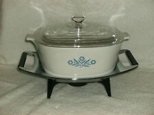 VINTAGE CORNINGWARE 2.5 QUART ROYAL BUFFET SAUCEPAN w COVER AND CANDLE WARMER